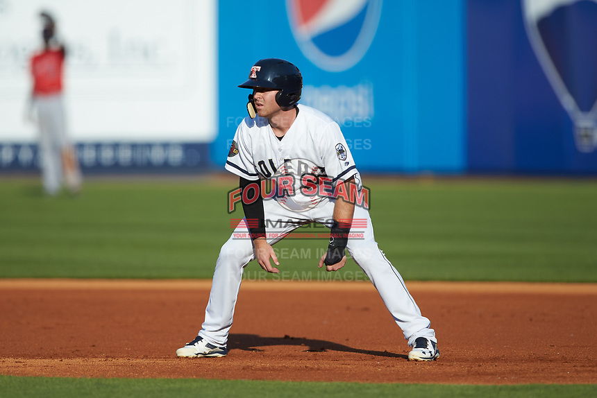Mike Gerber (10) of the Toledo Mud Hens takes his lead off of first base against the Louisville Bats at Fifth Third Field on June 16, 2018 in Toledo, Ohio. The Mud Hens defeated the Bats 7-4.  (Brian Westerholt/Four Seam Images)
