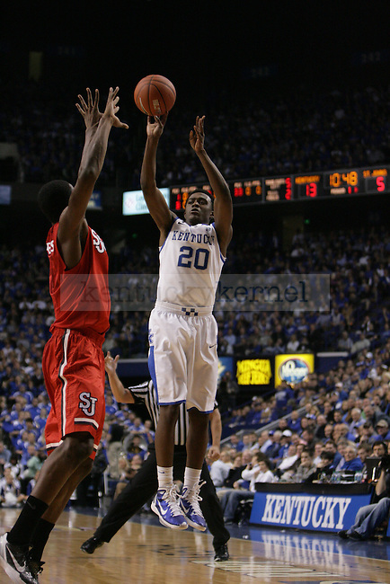 Sophomore guard Doron Lamb shoots a three-pointer during the first half of UK's home game against St. John's at Rupp Arena in Lexington, Ky., Dec. 1, 2011. Photo by Brandon Goodwin