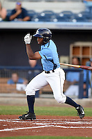 Charlotte Stone Crabs outfielder Andrew Toles (1) at bat during a game against the Palm Beach Cardinals on April 12, 2014 at Charlotte Sports Park in Port Charlotte, Florida.  Palm Beach defeated Charlotte 6-2.  (Mike Janes/Four Seam Images)