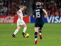 ORLANDO, FL - MARCH 05: Ellen White #18 of England dribbles during a game between England and USWNT at Exploria Stadium on March 05, 2020 in Orlando, Florida.