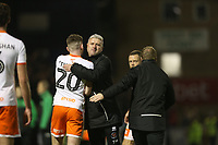 Blackpool manager Terry McPhillips embraces Oliver Turton  at the end of the game<br /> <br /> Photographer Rob Newell/CameraSport<br /> <br /> The EFL Sky Bet League One - Southend United v Blackpool - Saturday 17th November 2018 - Roots Hall - Southend<br /> <br /> World Copyright &copy; 2018 CameraSport. All rights reserved. 43 Linden Ave. Countesthorpe. Leicester. England. LE8 5PG - Tel: +44 (0) 116 277 4147 - admin@camerasport.com - www.camerasport.com