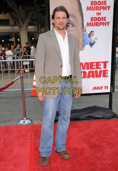 "MARC BLUCAS .The Twentieth Cenury Fox World Premiere of ""Meet Dave"" held at The Mann's Village Theatre in Westwood, California, USA. .July 8th, 2008                                                                     .full length jeans denim grey gray suit jacket white shirt mark .CAP/DVS.©Debbie VanStory/Capital Pictures."