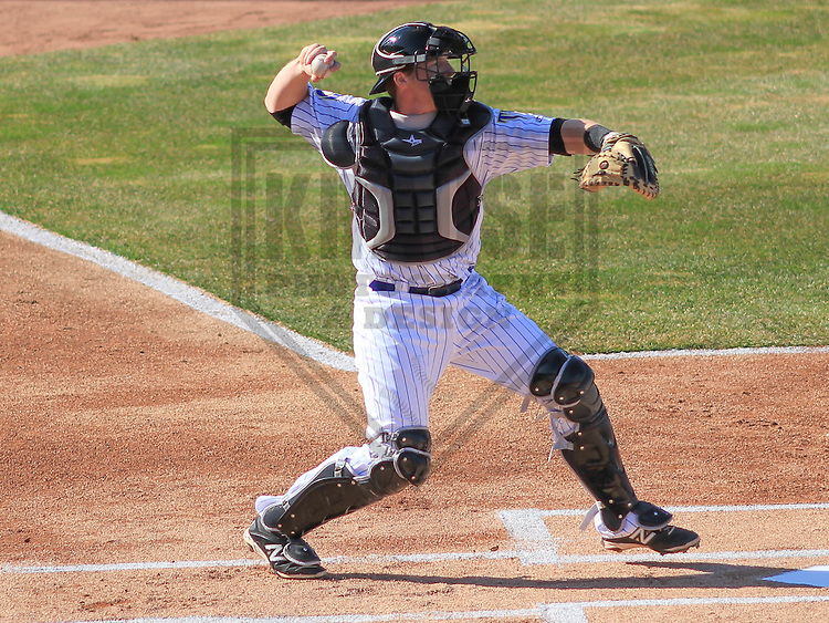 APPLETON - April 2015: catcher Gregory McCall (21) of the Wisconsin Timber Rattlers during a game against the Peoria Chiefs on April 12th, 2015 at Fox Cities Stadium in Appleton, Wisconsin. (Photo Credit: Brad Krause)