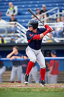 Lowell Spinners second baseman Brett Netzer (18) at bat during a game against the Batavia Muckdogs on July 12, 2017 at Dwyer Stadium in Batavia, New York.  Batavia defeated Lowell 7-2.  (Mike Janes/Four Seam Images)