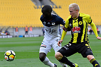 Wellington Phoenix&rsquo; Adam Parkhouse and Melbourne Victory&rsquo;s Jason Geria in action during the A League - Wellington Phoenix v Melbourne Victory FC at Westpac Stadium, Wellington, New Zealand on Sunday 3 December.<br /> Photo by Masanori Udagawa. <br /> www.photowellington.photoshelter.com