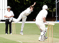 Joel Gregory of Hornsey bowls to James Warburton during the Middlesex County League Division Two game between Hornsey and Highgate at Tivoli Road, Crouch End on Saturday Aug 13, 2011