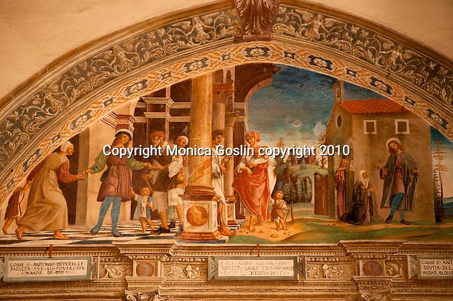 A 15th century fresco in the Santa Maria delle Grazie Church in Gravedona, a town on Lake Como Italy
