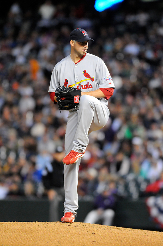 September 25, 2009: Cardinals starting pitcher and 2009 National League Cy Young Award candidate (and 2005 winner) and 2009 National League comeback player of the year candidate Chris Carpenter pitched 7 innings and gave up one run on 5 hits striking out 2 during a regular season game between the St. Louis Cardinals and the Colorado Rockies at Coors Field in Denver, Colorado. The Rockies beat the Cardinals 2-1. *****For editorial use only*****