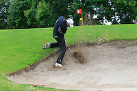 Richard Knightly (Royal Dublin) plugged in a bunker on the 2nd during round 1 of The Mullingar Scratch Cup in Mullingar Golf Club on Sunday 3rd August 2014.<br /> Picture:  Thos Caffrey / www.golffile.ie