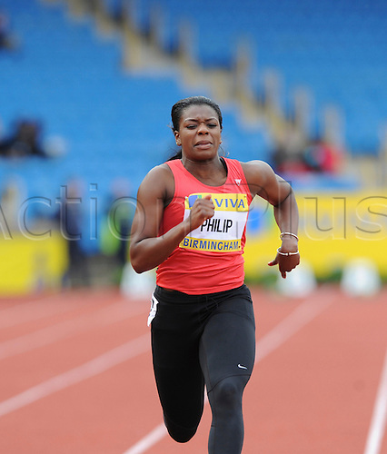 22.06.2012 Birmingham, ENGLAND : Womens 100m Heats, Asha Philip in action during the Aviva Trials at the Alexandra Stadium...