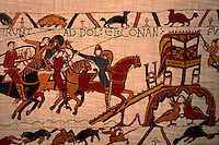 Visual Arts:  Bayeaux Tapestry #2.  Duke Conan escapes by sliding down a rope.