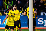 09.02.2019, Signal Iduna Park, Dortmund, GER, 1.FBL, Borussia Dortmund vs TSG 1899 Hoffenheim, DFL REGULATIONS PROHIBIT ANY USE OF PHOTOGRAPHS AS IMAGE SEQUENCES AND/OR QUASI-VIDEO<br /> <br /> im Bild | picture shows:<br /> Achraf Hakimi (Borussia Dortmund #5) jubelt mit Mario Goetze (Borussia Dortmund #10) über dessen Tor zum 2:0,  <br /> <br /> Foto © nordphoto / Rauch