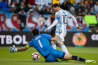 Seattle, WA - Tuesday June 14, 2016: Argentina midfielder Lionel Messi (10) drives towards the goal during a Copa America Centenario Group D match between Argentina (ARG) and Bolivia (BOL) at CenturyLink Field