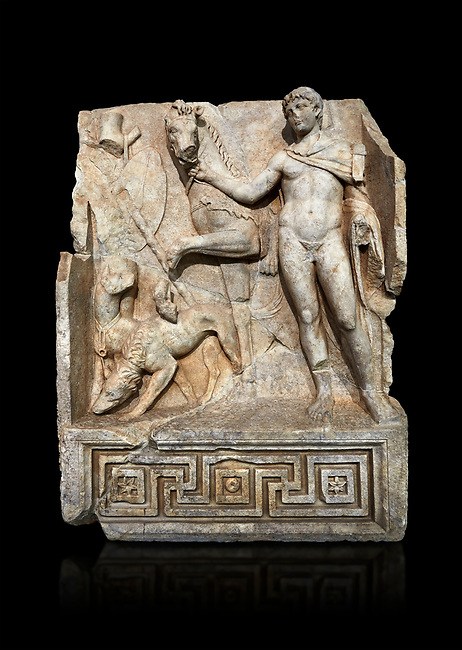 Roman Sebasteion relief  sculpture of Royal Hero with hunting dogs,  Aphrodisias Museum, Aphrodisias, Turkey.   Against a black background.<br /> <br /> A diademed youth stands with his horse and hunting dogs. At the left an oval shield (foreign) hangs from a leafless tree, against which leans a long thin club. The Royal hero in this and the relief to the left is probably a local founder such as Assyrian King Ninos, claimed as founder of their city by the Aphrodisians.