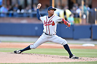 Rome Braves starting pitcher Jasseel De La Cruz (30) delivers a pitch during a game against the Asheville Tourists at McCormick Field on April 17, 2018 in Asheville, North Carolina. The Tourists defeated the Braves 1-0. (Tony Farlow/Four Seam Images)