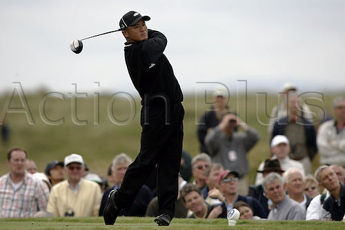 15 July 2004: Japanese golfer Shigeki Maruyama (JPN) tees off from the 15th tee during the first round of The Open Championship played at Royal Troon, Scotland. Photo: Glyn Kirk/Action Plus...golf wood driving driver 040715.British