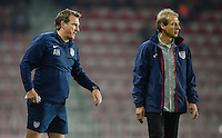 PRAGUE, Czech Republic - September 3, 2014: USA's coach Jurgen Klinsmann and assistant coach Andreas Herzog during the international friendly match between the Czech Republic and the USA at Generali Arena.