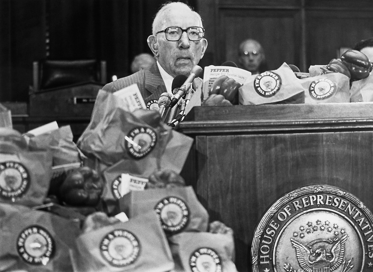 Rep. Claude Pepper, D-Fla., at a press conference in April 1988. (Photo by CQ Roll Call)