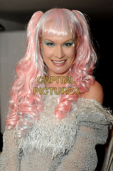 Kitty Brucknell<br /> 'Bloggers Love' Gifting Suite Event at the Penthouse, Leicester Square. London, England.<br /> 17th September 2013<br /> half length white grey gray off the shoulder knitted sweater jumper pink dyed hair eyeshadow <br /> CAP/PP/GM<br /> &copy;Gary Mitchell/PP/Capital Pictures