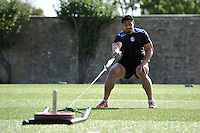 Alafoti Fa'osiliva in action. Bath Rugby pre-season training session on August 18, 2014 at Farleigh House in Bath, England. Photo by: Patrick Khachfe/Onside Images