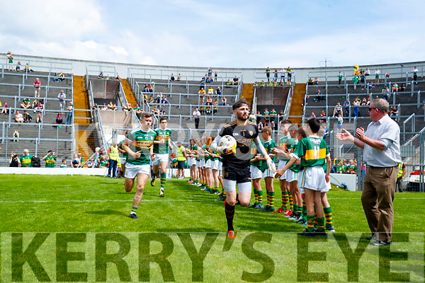 The Kerry team before the Munster GAA Football Senior Championship semi-final match between Kerry and Clare at Fitzgerald Stadium in Killarney on Sunday.