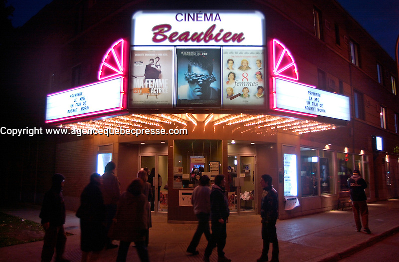 Montreal (Qc) CANADA - , October 2002  File Photo <br /> <br /> Marquee of the Cinema Beaubien at night<br /> <br /> Photo by Images Distribution.