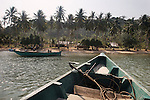 CAMBODIA  -  APRIL 3, 2005:  A boat arrives at Rabbit Island on April 3, 2005 in Cambodia.  (PHOTOGRAPH BY MICHAEL NAGLE)