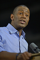 MIAMI, FLORIDA - NOVEMBER 02: Florida Democratic gubernatorial candidate Andrew Gillum speak ahead of former U.S. President Barack Obama during a rally to support Florida Democratic gubernatorial candidate Andrew Gillum and U.S. Senator Bill Nelson (D-FL) at the Ice Palace film studios on November 02, 2018 in Miami, Florida. Senator Nelson (D-FL) and candidate Andrew Gillum are in tight races against their Republican opponents.  Credit: MPI10 / MediaPunch