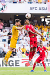 Salem Alajalin of Jordan (R) fights for the ball with Milos Degenek of Australia (L) during the AFC Asian Cup UAE 2019 Group B match between Australia (AUS) and Jordan (JOR) at Hazza Bin Zayed Stadium on 06 January 2019 in Al Ain, United Arab Emirates. Photo by Marcio Rodrigo Machado / Power Sport Images