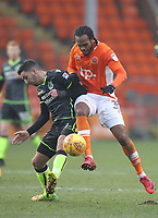 Blackpool's Nathan Delfouneso battles with Bristol Rovers' Ryan Sweeney<br /> <br /> Photographer Mick Walker/CameraSport<br /> <br /> The EFL Sky Bet League One - Blackpool v Bristol Rovers - Saturday 13th January 2018 - Bloomfield Road - Blackpool<br /> <br /> World Copyright &copy; 2018 CameraSport. All rights reserved. 43 Linden Ave. Countesthorpe. Leicester. England. LE8 5PG - Tel: +44 (0) 116 277 4147 - admin@camerasport.com - www.camerasport.com