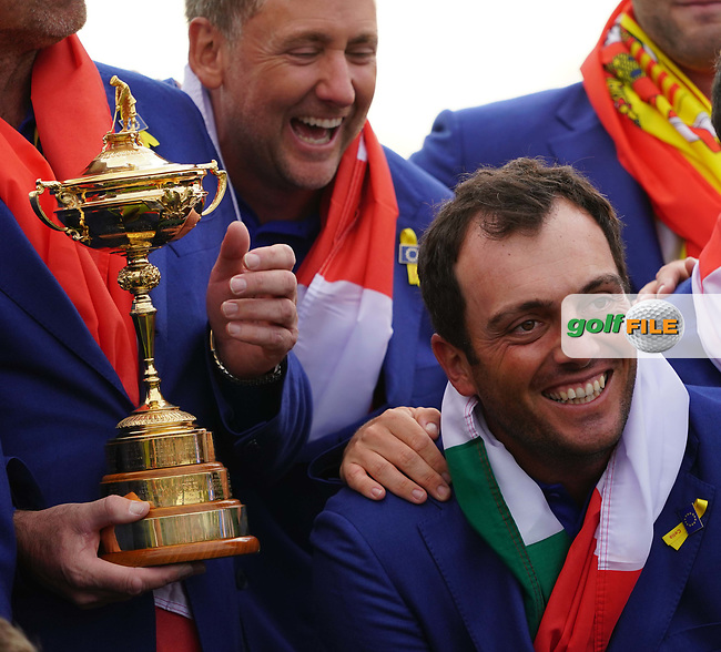 Francesco Molinari (Team Europe) celebrate at the Ryder Cup, Le Golf National, Iles-de-France, France. 30/09/2018.<br /> Picture Claudio Scaccini / Golffile.ie<br /> <br /> All photo usage must carry mandatory copyright credit (© Golffile | Claudio Scaccini)