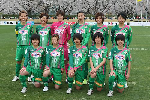 NTV Beleza team group line-up, .MARCH 23, 2013 - Football /Soccer : .Plenus Nadeshiko League 2013 .between NTV Beleza 2-0 FC Kibikokusaidaigaku Charme .at Ajinomoto Stadium West Field, Tokyo, Japan. .(Photo by YUTAKA/AFLO SPORT) [1040]