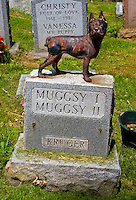 Gravestone for the dogs Muggsy one and two at the Hartsdale Pet Cemetery in Hartsdale NY