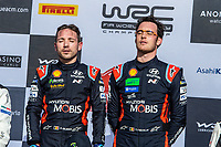 26th January 2020, Monaco, Monte Carlo;  THIERRY NEUVILLE PODIUM celebrate their win at the 2020 Monte Carlo Rally on the podium