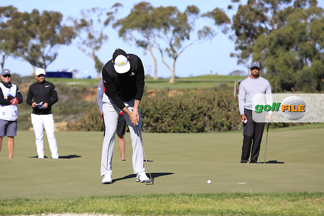 Dustin Johnson (USA) putts on the 12th green during Friday's Round 2 of the 2017 Farmers Insurance Open held at Torrey Pines Golf Course, La Jolla, San Diego, California, USA.<br /> 27th January 2017.<br /> Picture: Eoin Clarke | Golffile<br /> <br /> <br /> All photos usage must carry mandatory copyright credit (&copy; Golffile | Eoin Clarke)