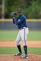 Atlanta Braves Albinson Volquez (50) during a Minor League Spring Training game against the New York Yankees on March 12, 2019 at New York Yankees Minor League Complex in Tampa, Florida.  (Mike Janes/Four Seam Images)