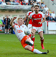 Blackpool's Mark Cullen misses a chance at the end of the match<br /> <br /> Photographer Alex Dodd/CameraSport<br /> <br /> The EFL Sky Bet League One - Rotherham United v Blackpool - Saturday 5th May 2018 - New York Stadium - Rotherham<br /> <br /> World Copyright &copy; 2018 CameraSport. All rights reserved. 43 Linden Ave. Countesthorpe. Leicester. England. LE8 5PG - Tel: +44 (0) 116 277 4147 - admin@camerasport.com - www.camerasport.com