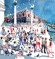 Crowds of tourists in St Mark's Square Venice ExclusiveImage