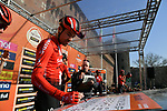 Tom Dumoulin (NED) Team Sunweb at sign on in Fortezza Medicea before the start of the 110th edition of Milan-San Remo 2019 running 291km from Milan to San Remo, Italy. 23rd March 2019.<br /> Picture: LaPresse/Gian Matteo D'Alberto | Cyclefile<br /> <br /> <br /> All photos usage must carry mandatory copyright credit (&copy; Cyclefile | LaPresse/Gian Matteo D'Alberto)