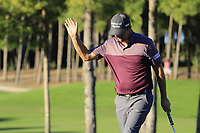 Padraig Harrington (IRL) sinks his birdie putt on the 17th green during Friday's Round 2 of the 2018 Turkish Airlines Open hosted by Regnum Carya Golf &amp; Spa Resort, Antalya, Turkey. 2nd November 2018.<br /> Picture: Eoin Clarke | Golffile<br /> <br /> <br /> All photos usage must carry mandatory copyright credit (&copy; Golffile | Eoin Clarke)