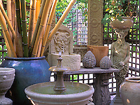 Artistic pots and vases in an outdoor grotto