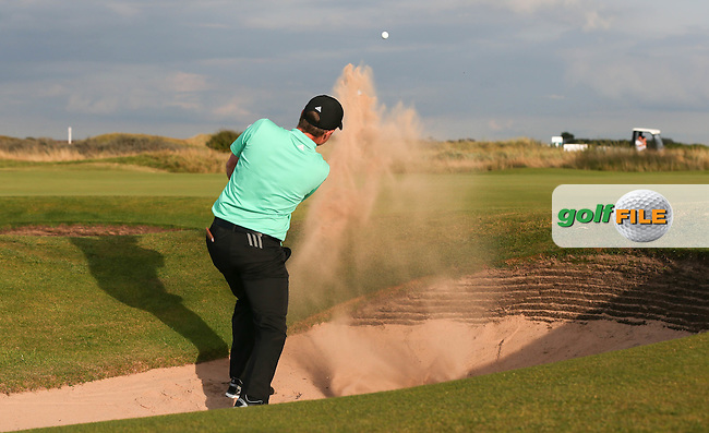 Jack Hume (IRL) plays out of the bunker on the 17th during Sunday afternoon Singles matches of The Walker Cup 2015 played at Royal Lytham and St Anne's, Lytham St Anne's, Lancashire, England. 13/09/2015. Picture: Golffile | David Lloyd<br /> <br /> All photos usage must carry mandatory copyright credit (&copy; Golffile | David Lloyd)