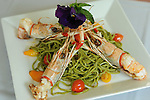 The Spaghetti con Gamberoni alla Griglia - fresh grilled langoustine over a bed of spinach-infused spaghetti at Sud Italia Ristorante at 2347 University Wednesday May 20, 2015.(Dave Rossman photo)