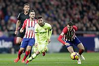 Referee Gil Manzano, Club Atletico de Madrid's Koke Resurreccion (L), Santiago Arias and Futbol Club Barcelona's Leo Messi  during La Liga match. November 24,2018. (ALTERPHOTOS/Alconada)<br /> Liga Campionato Spagna 2018/2019<br /> Foto Alterphotos / Insidefoto <br /> ITALY ONLY