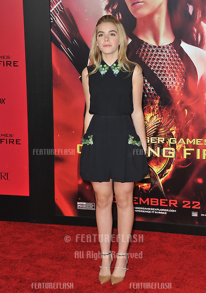 Kiernan Shipka at the US premiere of &quot;The Hunger Games: Catching Fire&quot; at the Nokia Theatre LA Live.<br /> November 18, 2013  Los Angeles, CA<br /> Picture: Paul Smith / Featureflash