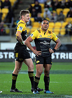 Ngani Laumape (right) and Jordie Barrett during the Super Rugby match between the Hurricanes and Chiefs at Westpac Stadium in Wellington, New Zealand on Friday, 9 June 2017. Photo: Dave Lintott / lintottphoto.co.nz