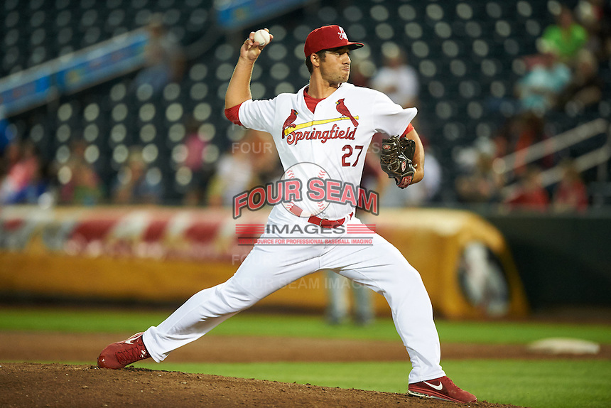 Springfield Cardinals pitcher Kyle Barraclough (27) delivers a pitch during a game against the Frisco RoughRiders  on June 3, 2015 at Hammons Field in Springfield, Missouri.  Springfield defeated Frisco 7-2.  (Mike Janes/Four Seam Images)