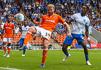 Blackpool's Chris Taylor shields the ball from Portsmouth's Jamal Lowe<br /> <br /> Photographer Alex Dodd/CameraSport<br /> <br /> The EFL Sky Bet League One - Blackpool v Portsmouth - Saturday August 11th 2018 - Bloomfield Road - Blackpool<br /> <br /> World Copyright &copy; 2018 CameraSport. All rights reserved. 43 Linden Ave. Countesthorpe. Leicester. England. LE8 5PG - Tel: +44 (0) 116 277 4147 - admin@camerasport.com - www.camerasport.com