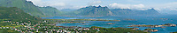 Panoramic view of the village of Stamsund and the mountan peaks of the Lofoten Islands, Norway