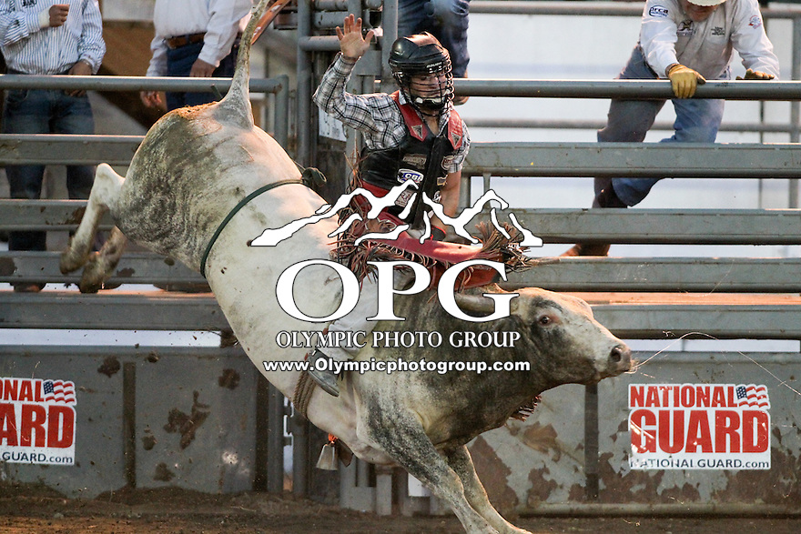 20 Aug 2014:  Jeffrey Joseph Ramagos was not able to score while competing in the Seminole Hard Rock Extreme Bulls competition at the Kitsap County Stampede in Bremerton, Washington.